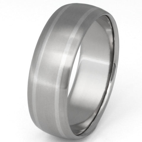 titanium wedding ring with platinum inlays p11 Titanium Wedding and Engagement Rings