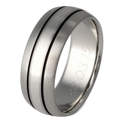 titanium wedding ring with platinum inlay and black channels p13 Titanium Wedding and Engagement Rings
