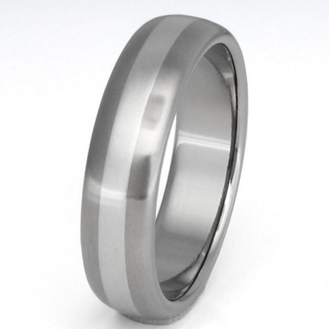 titanium wedding ring with platinum inlay p3 Titanium Wedding and Engagement Rings