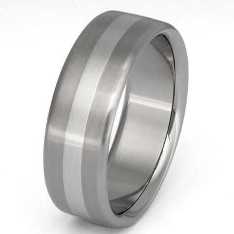 titanium wedding ring with platinum inlay p7 Titanium Wedding and Engagement Rings
