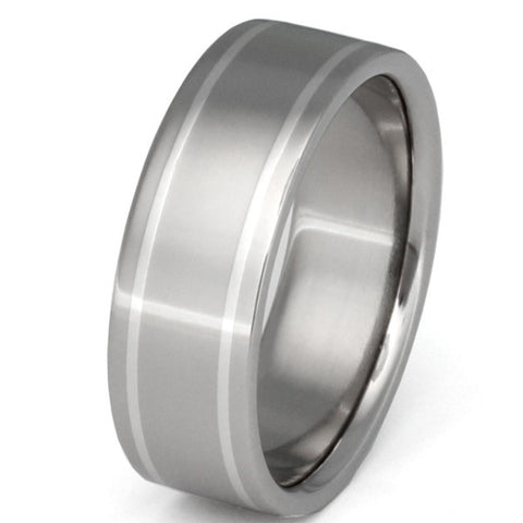 titanium wedding ring with platinum inlays p8 Titanium Wedding and Engagement Rings