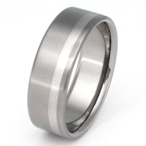titanium wedding ring with platinum inlay p9 Titanium Wedding and Engagement Rings