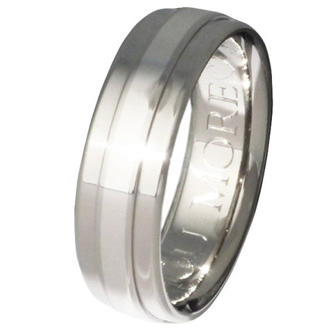 titanium wedding ring with raised platinum inlay p5 Titanium Wedding and Engagement Rings