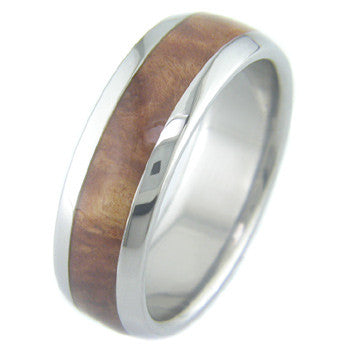 red mallee burl Titanium Wedding and Engagement Rings