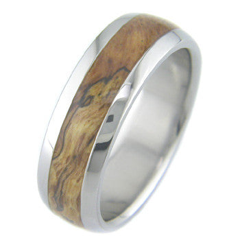 red oak burl Titanium Wedding and Engagement Rings