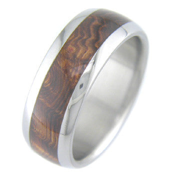 rosewood burl Titanium Wedding and Engagement Rings