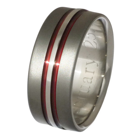 sable titanium wedding ring sa20 red Titanium Wedding and Engagement Rings