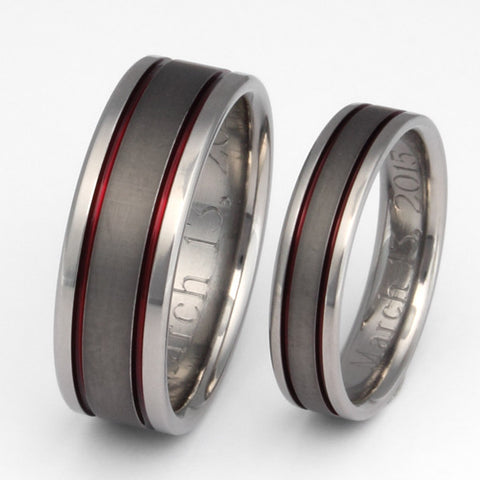 red titanium ring set with sable finish stsa12 Titanium Wedding and Engagement Rings