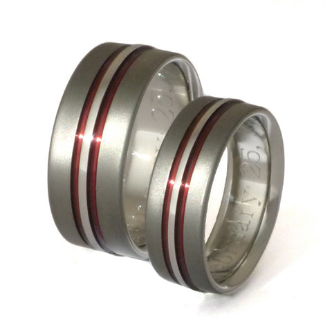 matching sable titanium ring set stsa20 red Titanium Wedding and Engagement Rings