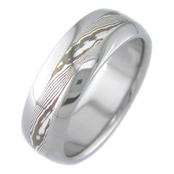 shakudo and silver twist mokume Titanium Wedding and Engagement Rings
