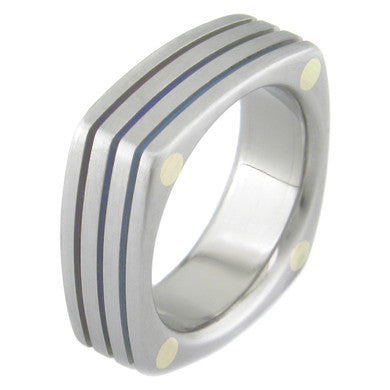 Boone Titanium Ring - Stacked Squares