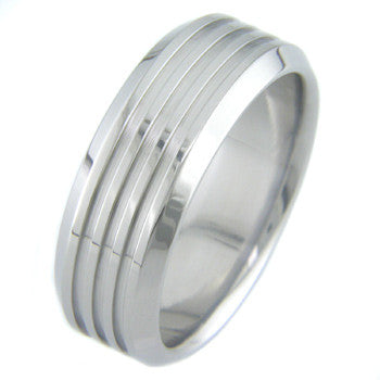 Boone Titanium Ring - Three Grooves with Bevels
