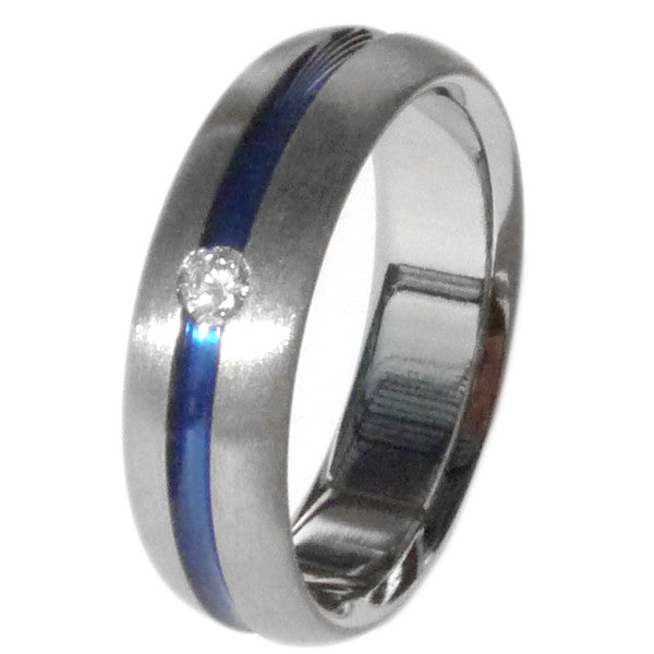 Titanium Diamond Ring With Blue Inlay S19 Wedding And Engagement Rings