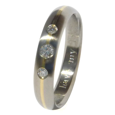 titanium engagement ring with gold inlay e11 Titanium Wedding and Engagement Rings