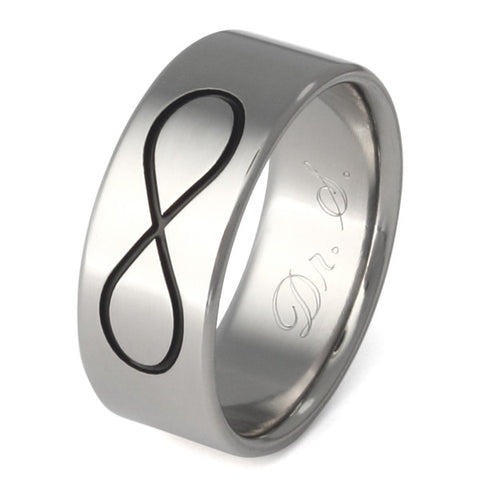 black infinity titanium wedding ring bk33 Titanium Wedding and Engagement Rings