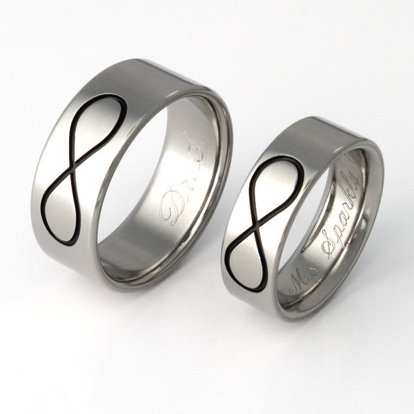Infinity Wedding Band.Titanium Infinity Wedding Band Set Stn28