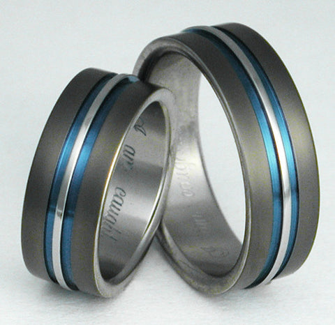 matching sable titanium wedding band set stsa20 Titanium Wedding and Engagement Rings