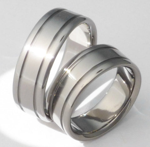 matching titanium wedding band set stn5 Titanium Wedding and Engagement Rings