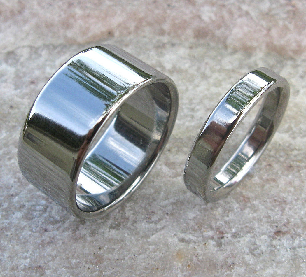 matching titanium wedding band set - stn12 – titanium rings studio