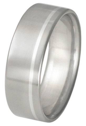 titanium wedding ring with platinum inlay p6 Titanium Wedding and Engagement Rings