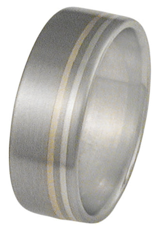 cliff hanger two tone ring m8 Titanium Wedding and Engagement Rings
