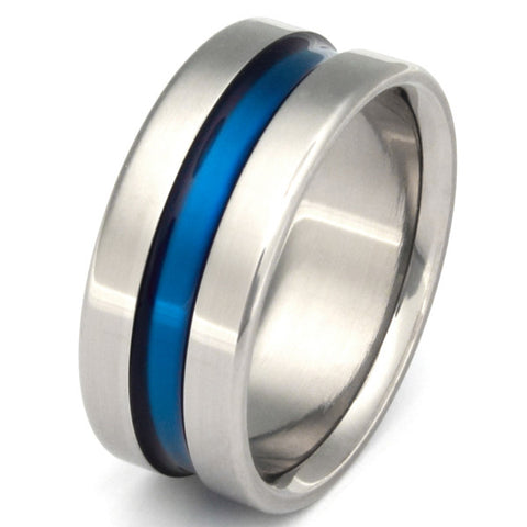 wide blue line titanium ring Titanium Wedding and Engagement Rings