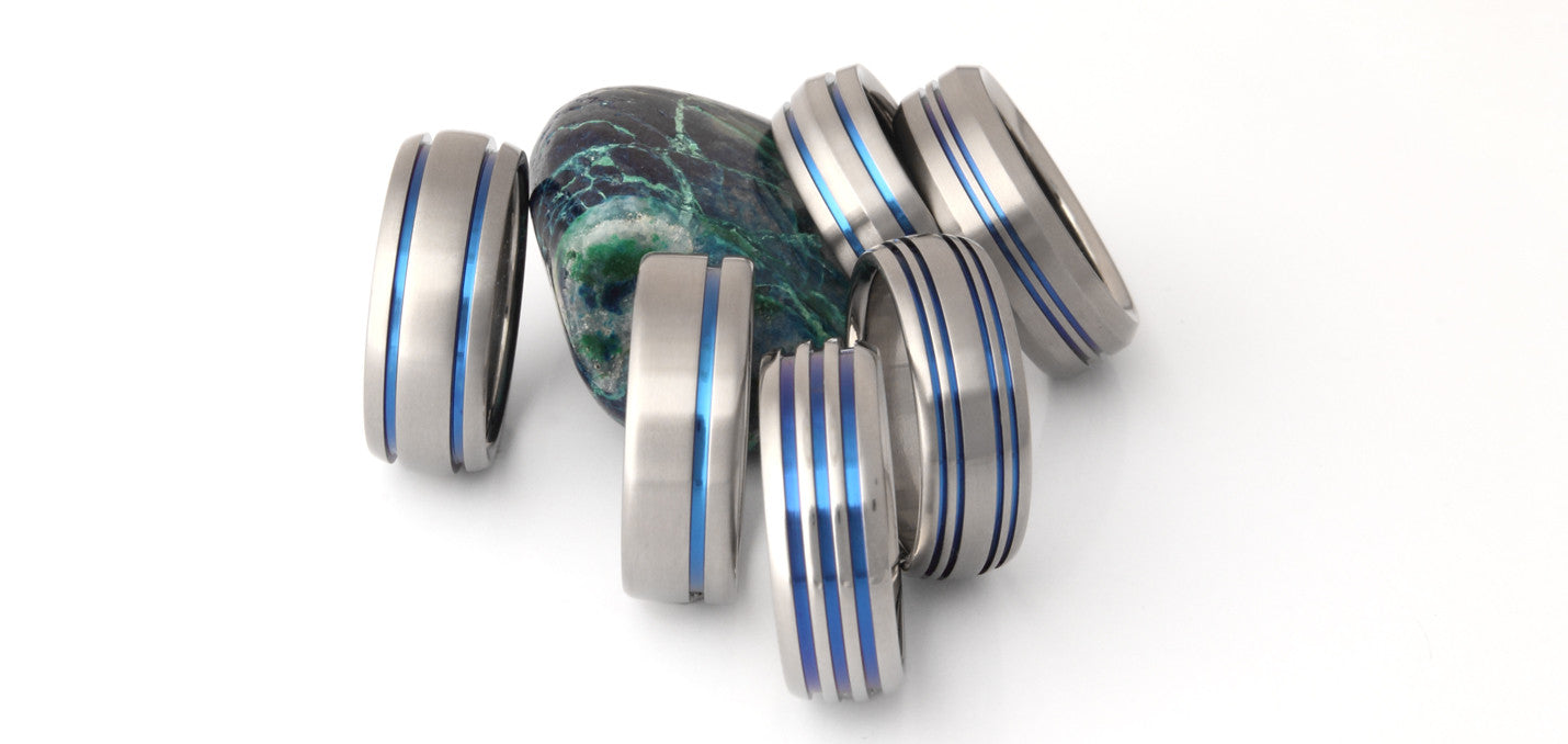 Thin Blue Line Titanium Rings