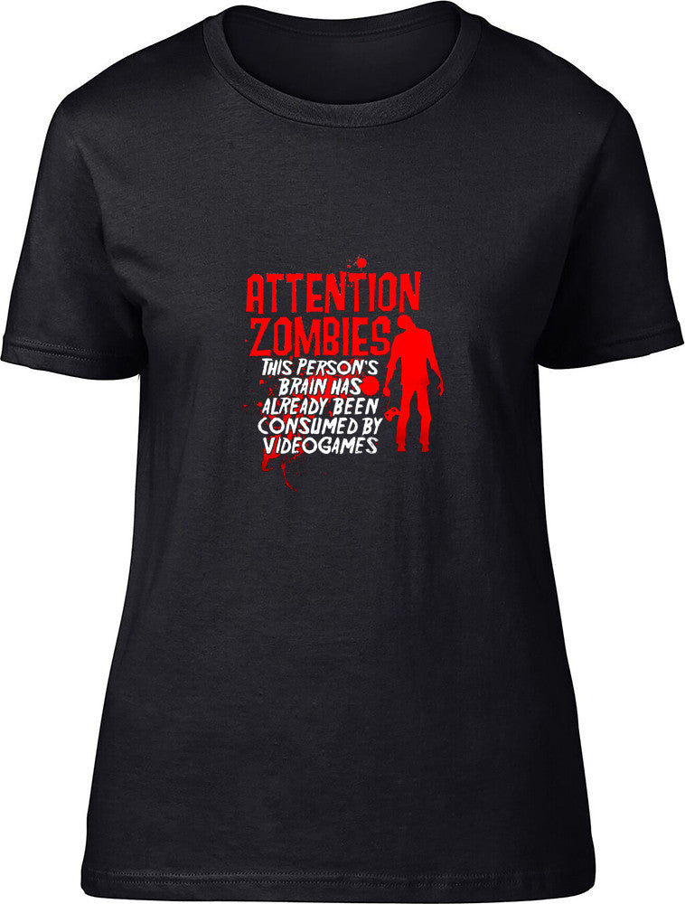 Attention Zombies Ladies T-Shirt