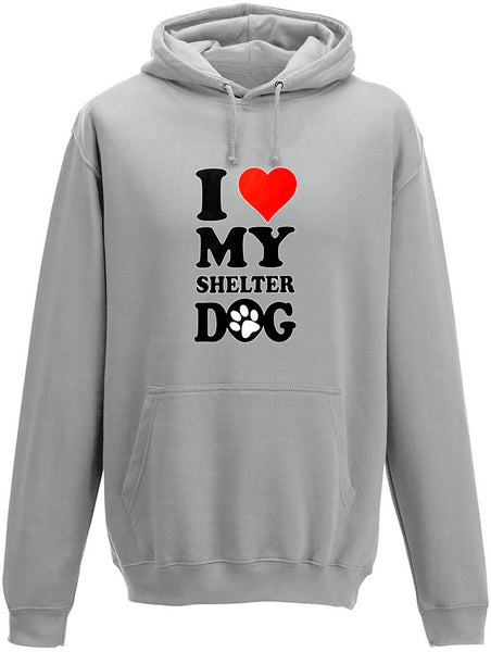 I love my shelter dog Adults Hoodie