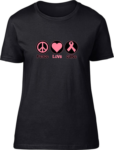 Peace Love Cure Ladies T-Shirt