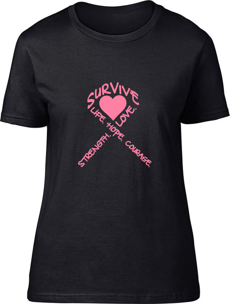 Survive Ribbon Ladies T-Shirt