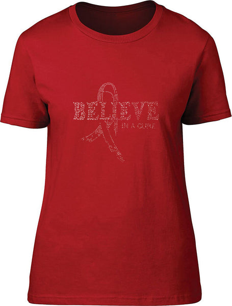 Rhinestone Believe in a Cure Ladies T-Shirt
