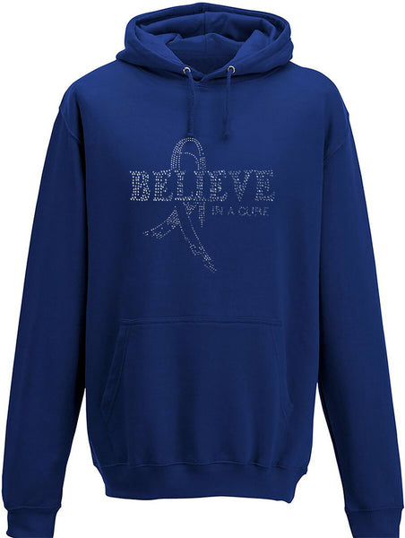 Rhinestone Believe in a Cure Adults Hoodie