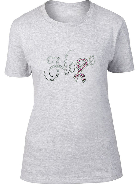 Rhinestone Hope with a Ribbon Ladies T-Shirt