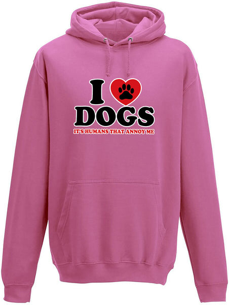 I love dogs it's humans that annoy me Adults Hoodie