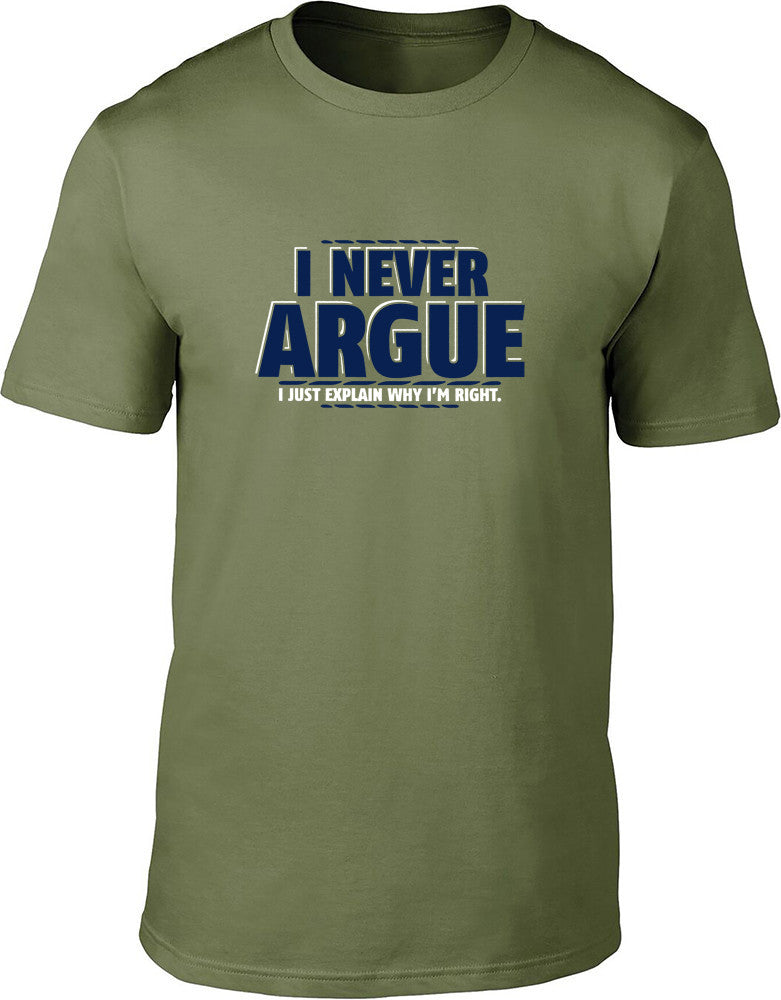 I never argue I just explain why I'm right Mens T-Shirt