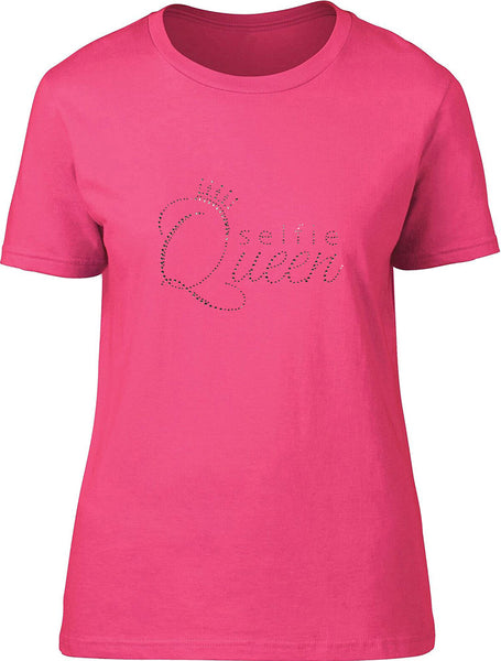 Rhinestones Selfie Queen Ladies T-Shirt