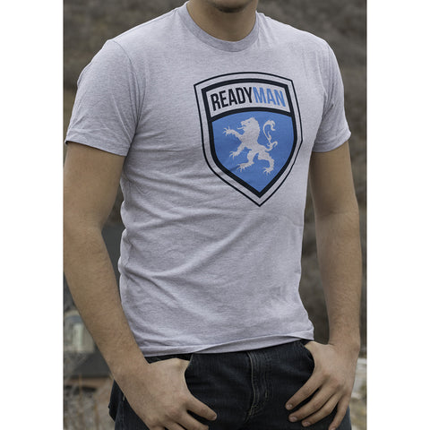 READYMAN - Grey Logo Shield T-Shirt *SALE 50% OFF*