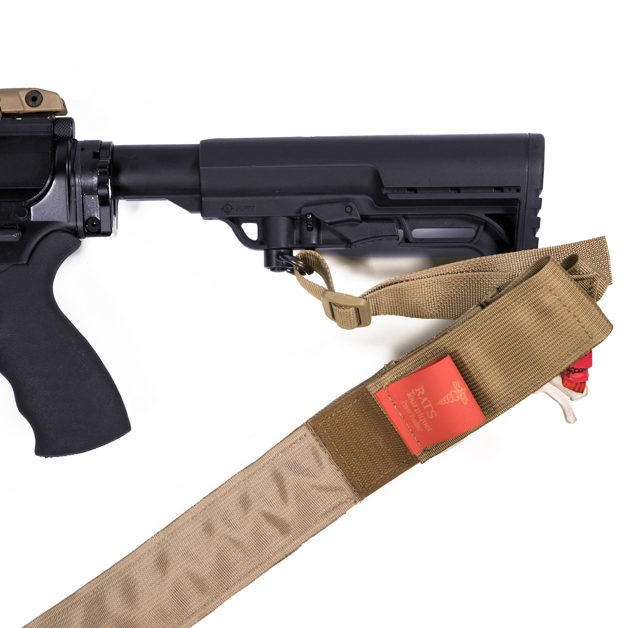 Tan RATS Two-Point Sling With RED RATS Tourniquet