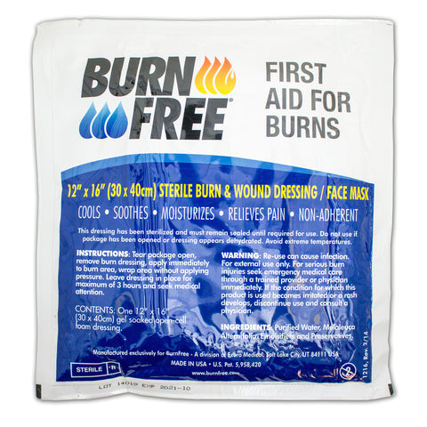 "BurnFree Face Mask Burn Dressing 12""x16"""