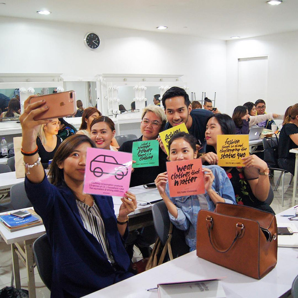Students from SoFa Design Institute in Manila, snapping selfies and posting photos for Fashion Revolution Week!
