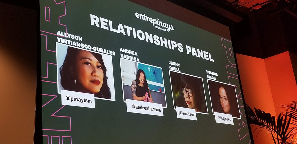 Bespoke SF screen showcasing the speakers at the Entrepinays Summit for Filipina entrepreneurs Relationship panel with Allyson Tintiangco-Cubales, Andrea Barrica of O.School, Jenny Odell, and Denna Sison.
