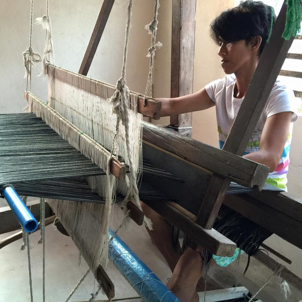 Nanay Liwayway at the AKABA Livelihood and Weaving Center in GK Namnama
