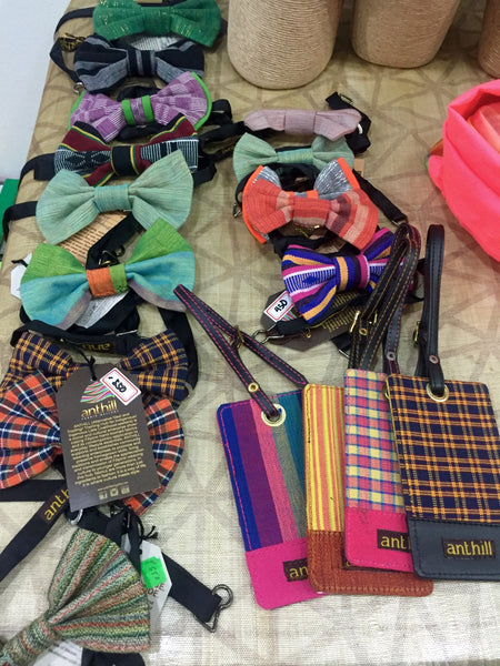 Luggage tags and bow ties made from traditional weaves at ANTHILL