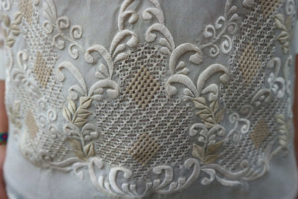 Close-up on the embroidery of a barong