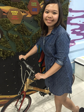 Me (Gelaine) admiring the Bambike, a socially responsible bamboo-made bike that is proudly made in the Philippines.
