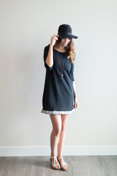 Buttercream Clothing - Take Me Away Tunic Dress In Black Lace, made of incredibly soft bamboo/cotton blend French terry