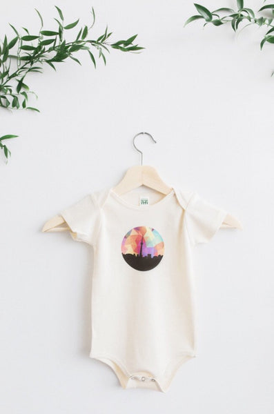 JR Authentics - The Toronto Skyline Organic Cotton Onesie designed by a Montreal artist