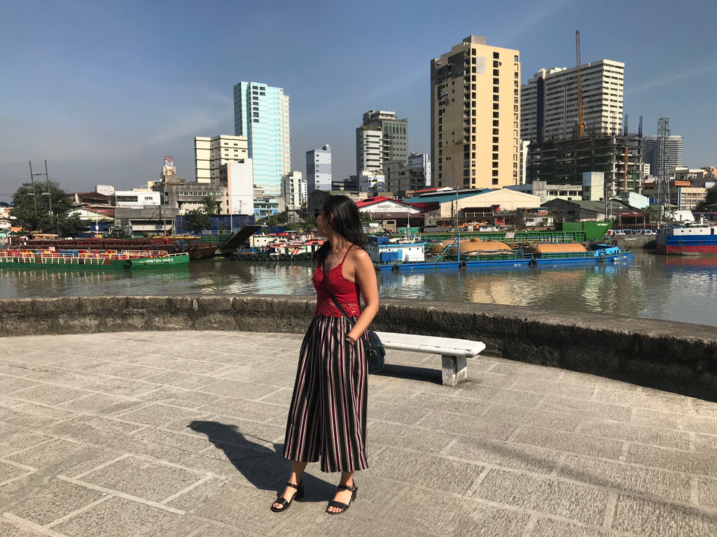 Justine Abigail Yu in front of the Pasig River in Intramuros