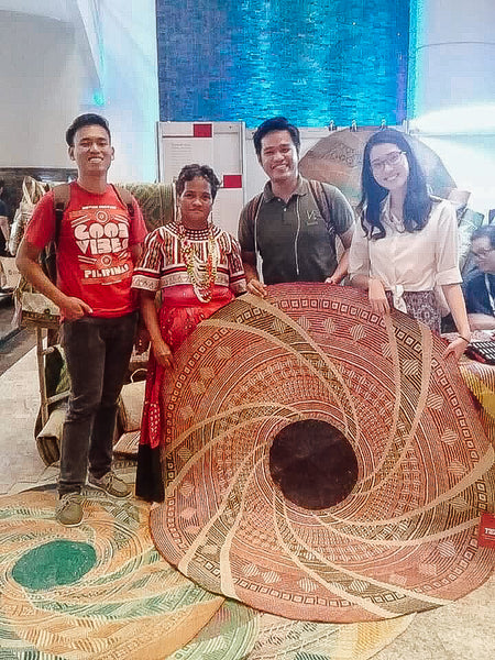 Shanice Espiritu with a weaver from the Tagolwanen Women Weavers Association